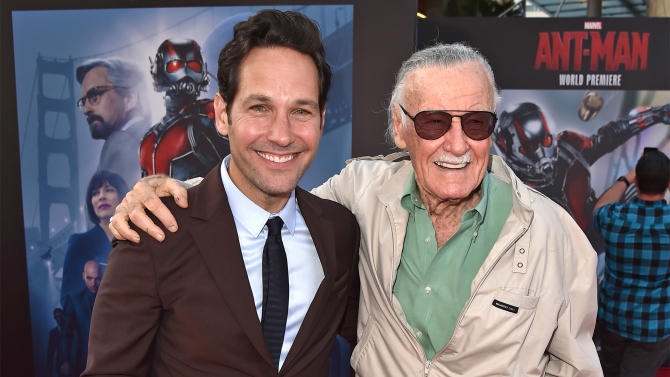 "HOLLYWOOD, CA - JUNE 29:  Actor Paul Rudd (L) and comic book icon Stan Lee attend the premiere of Marvel's ""Ant-Man"" at the Dolby Theatre on June 29, 2015 in Hollywood, California.  (Photo by Kevin Winter/Getty Images)"