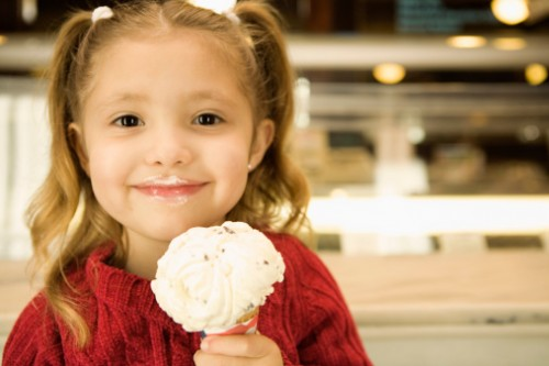 Happy girl holding ice cream cone